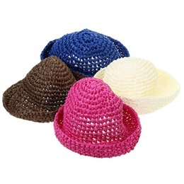 Wholesale-1pc Trendy Women Girls Brim Summer Beach Sun Hat Straw Paper Floppy Country Style Cap Hats Country style Hat 4 colors HO677381