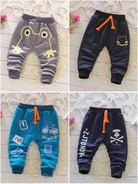 Wholesale 22 Colors Baby Boys Cartoon Printed harem pants Can open file Children Cotton Crochet Casual Pants Trousers Kids Loose pant Boys Clothing