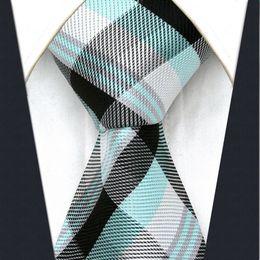 U8 Black Light Green Checkes Mens Ties Silk Handmade Wedding Fashion Classic Brand New Dress Men's Accessories Necktie
