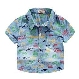 Wholesale Brand Baby clothing middle Boys Bicycle car print short sleeve denim shirt boy Tops cotton summer Creative shirts boy Kids clothes