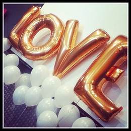 Wholesale Gold Silver large foil letter wedding balloons LOVE Air helium foil balloons for wedding party decoration