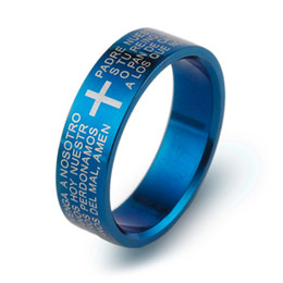 Fashion creative men's classic Prayer Padre Nuestro bible cross ring Cross silver blue black gold Tungsten steel rings