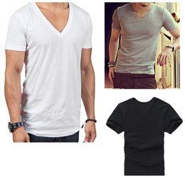Wholesale New Fashion Men s V Neck T shirt Sada Cotton Casual Short sleeved White Black Gray Stylish Basic Casual Tops Tee M120