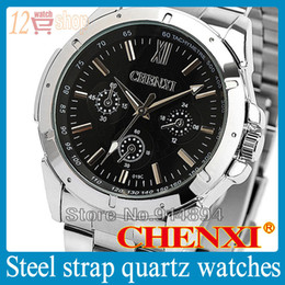 Wholesale Sale quartz watches men CHENXI brand festina Three circles decoration Stainless Steel Sheet man s wrist watch CX C clock male