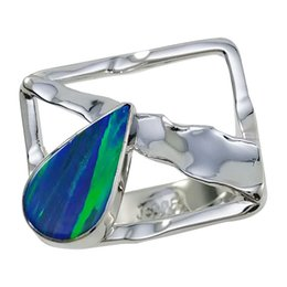 Customized Teardrop mystic opal rings pure handmade 925 silver in striking colors and patterns for R6516