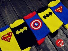 Wholesale The Avengers socks Cartoon Superhero Socks Batman Captain America Superman socks Adult socks cartoon mens socks Cartoon sports socks