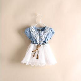 Wholesale Hot Summer Kids Baby Girls Dresses Short Sleeve Denim Floral Waistband Lace Gauze Yarn Bow Kid Girl s Dress Children s Clothing A5779