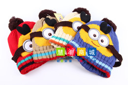 Wholesale Super cute manual cotton knitted hats Despicable me yellow minion hats