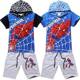 Promotion spiderman ensembles de vêtements d'été 2015 Summer Boys T-shirt pantalon ensemble Spiderman badine le T-shirt Set Vêtements capuche T-shirt 5 taille / lot Spiderman Vêtements Set