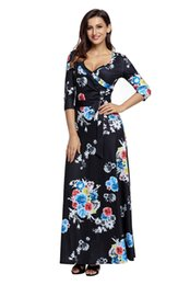 Women's 3 4 Sleeve Deep V-Neck Printed Maxi Faux Wrap Dress,Wrapped Long Boho Dress