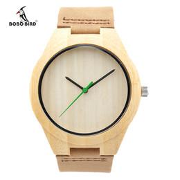 Wholesale Brand New BOBO BIRD Genuine Leather Bamboo Wood Wristwatch Luxury Mens Watch Relogio Masculino