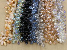 Wholesale Hot sell Faceted Teardrop Crystal Glass Loose Beads mm Jewelry DIY color