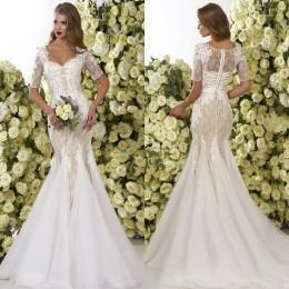 Promotion robe de conception de cristal courte Robes de mariée en dentelle 2016 Crystal Design Robes de mariée manches courtes Robes de mariée en nuptiale nouvelle arrivée avec Appliques