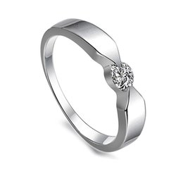 Free Shipping Fine Wholesale - Women's Hearts and Arrows diamond ring simulation , Platinum Plating ring