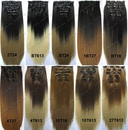 Wholesale Two Tone Ombre Hair Clip in Hair Extensions Heat Resistant Synthetic Hair Clip in on Hair Extensions Clip on Hairpieces Assorted Colors