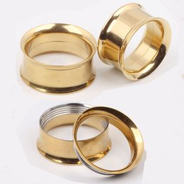 F17 Mix 5-20mm 144pcs Stainless Steel gold Ear Tunnel Body Jewelry double Flare Flesh Tunnel internally threaded