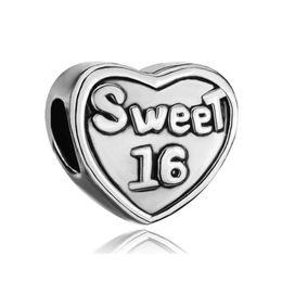10 pcs per lot Heart Shape Sweet 16 Valentine's Day Charm European Beads For Pandora Bracelet