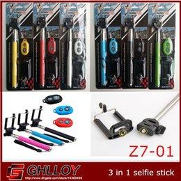 Promotion contrôleur bluetooth pour monopode Clip Holder 3in1 Z07-1 extensible auto Selfie bâton Handheld Manfrotto + + Caméra Bluetooth Shutter Télécommande Pour 50pcs de l'appareil photo du téléphone jusqu'à