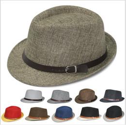 Wholesale-Unisex Linen Fedora Cap Women Summer Hat Adult Sun Hat Solid Color Straw Fedora Cap Women Summer Hat Beach Caps
