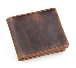 Wholesale Men Genuine Leather Retro Short Bifold Wallet Cowhide Coin Purse Card Holder Money Clips Slim Vintage Design Purse