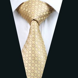 Yellow Classic Mens Silk Neck Ties Jacquard Woven 8.5cm Width Business Work Formal Wedding Tie D-0486