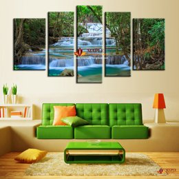 Wholesale 5 Panel Canvas Art Waterfall Painting Wall Picture Canvas Artwork Home Decoration Living Room Canvas Print Painting Large Canvas Art Cheap