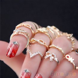 Wholesale 1 Set Women s Rhinestone Bowknot Knuckle Midi Mid Finger Tip Stacking Rings EH086