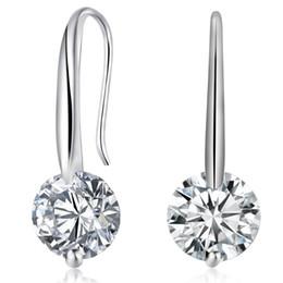 New Dazzling Silver Gold Charm Women Crystal Pea Earrings Eardrop Hook Chandelier Zircon Dangle Earring Jewelry