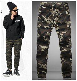 Wholesale-2016 HOT Dnine autumn army fashion hanging crotch jogger pants patchwork harem pants men crotch big Camouflage pants trousers