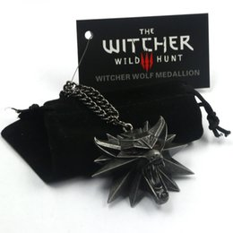 Wholesale New Wizard witcher medallion necklace the witcher wild hunt pendant witcher necklace with wolf head pendant NK0003