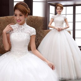 Wholesale Korean Tulle Shirt - The bride wedding dress 2016 new Korean shoulders together to dress code package show thin shoulder collar in winter