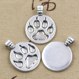 Wholesale 50pcs Charms dog paw mm Antique Zinc alloy pendant fit Vintage Tibetan Silver DIY for bracelet necklace