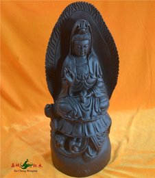 Wholesale Kerry Redwood City African ebony carvings of the Buddha Avalokitesvara sitting on a lotus carved mahogany interior Office Supplies