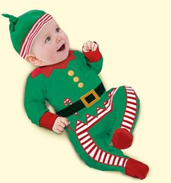 free shipping cute baby girl two piece jumpsuit santa christmas hat romper boys jumpsuit top