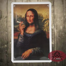 Wholesale The Mona Lisa of smoking Metal tin signs iron painting Nostalgic classic wall hanging