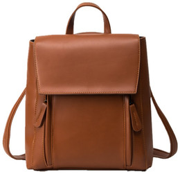 Concise Backpack College wind pack pu leather bag free shipping