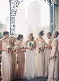 2016 Spring Charming Bridesmaid Dresses V Neck Shining Beading Sequins Long Pink Chiffon Dresses Custom Made For Bridesmaid