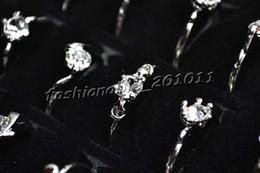 100pcs lot CZ Crystal Rhinestone & Silver P Rings Fashion Alloy Rings Mix Design