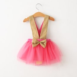 Wholesale NEW ARRIVAL baby girl kids infant toddler Korean dress golden belt strap halter dress big bowknot tulle gauze pettiskirt tutu jumper