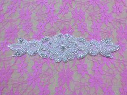 Wholesale BEADED GLASS CRYSTAL RHINESTONE PEARL RIBBON WEDDING DRESS APPLIQUE SEW IRON PATCH Rhinestone Sash AA cm cm