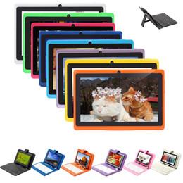 """Pc hd à vendre-EN SOLDES! iRULU 7 pouces A33 Quadcore Q88 1024 * 600 écran HD capacitif 8GB Tablet PC Wifi double Caméras Avec 7 """"Clavier en cuir cas"""