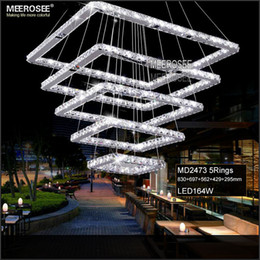 Square Crystal LED Ceiling Light Fixture 5 Squares Crystal Stair Lighting for Hotel, Hallway, Villa for Living room Dining room