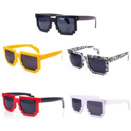 Wholesale-5pcs Unisex Retro Trendy Pixel 8 Bit Glasses Pixelated Style Square Sunglasses #58379
