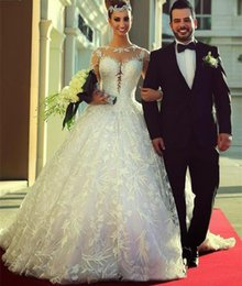 Vintage Gorgeous Lace Ball Gown Vestidos De Noiva A Line Wedding Dresses 2015 Appliques Embroidery Long Sleeves Bridal Gowns Backless