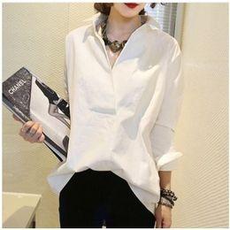 Autumn Winter Bottoming Shirt Long Sleeve Turn Down Collar White Cotton Shirt Big Size Women Blusas Female Work Wear Blouse