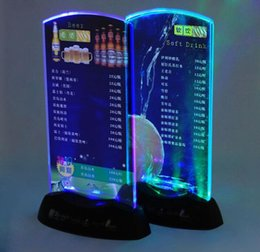 Wholesale Restaurant Hotel Bar KTV Night Club Led Table Menu Display Table illuminated Led Menu Led Acrylic Menu Stand Holder Coffee Shop Dessert