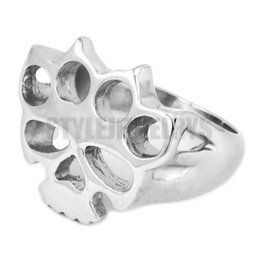 Free shipping! Silver Boxing Glove Skull Ring Classic Stainless Steel Jewelry Fashion Motor Biker Ring Men Women Ring SWR0417A