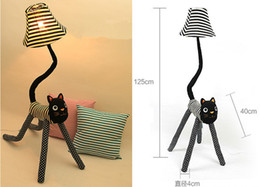 E27 cap cloth clown cat floor lamp, creative cute child standing lamp, living room bedroom bedside lamp, reading lamp nightlights