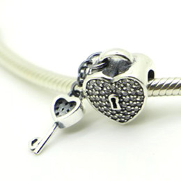 pandora valentine day Silver Lock of Love Charm 925 ale sterling silver charms loose beads diy jewelry for thread bracelet DF492