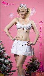 Wholesale sexy fantasias Costume adult onesie for women Snowflake Christmas Lingerie santa claus costume White Sexy Christmas Costume